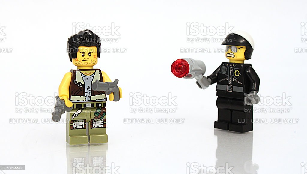 Cop and Fugitive stock photo