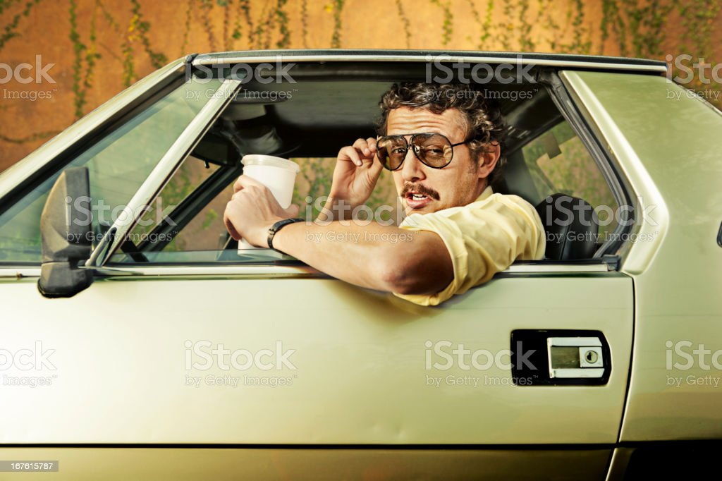 Cop in a car stock photo