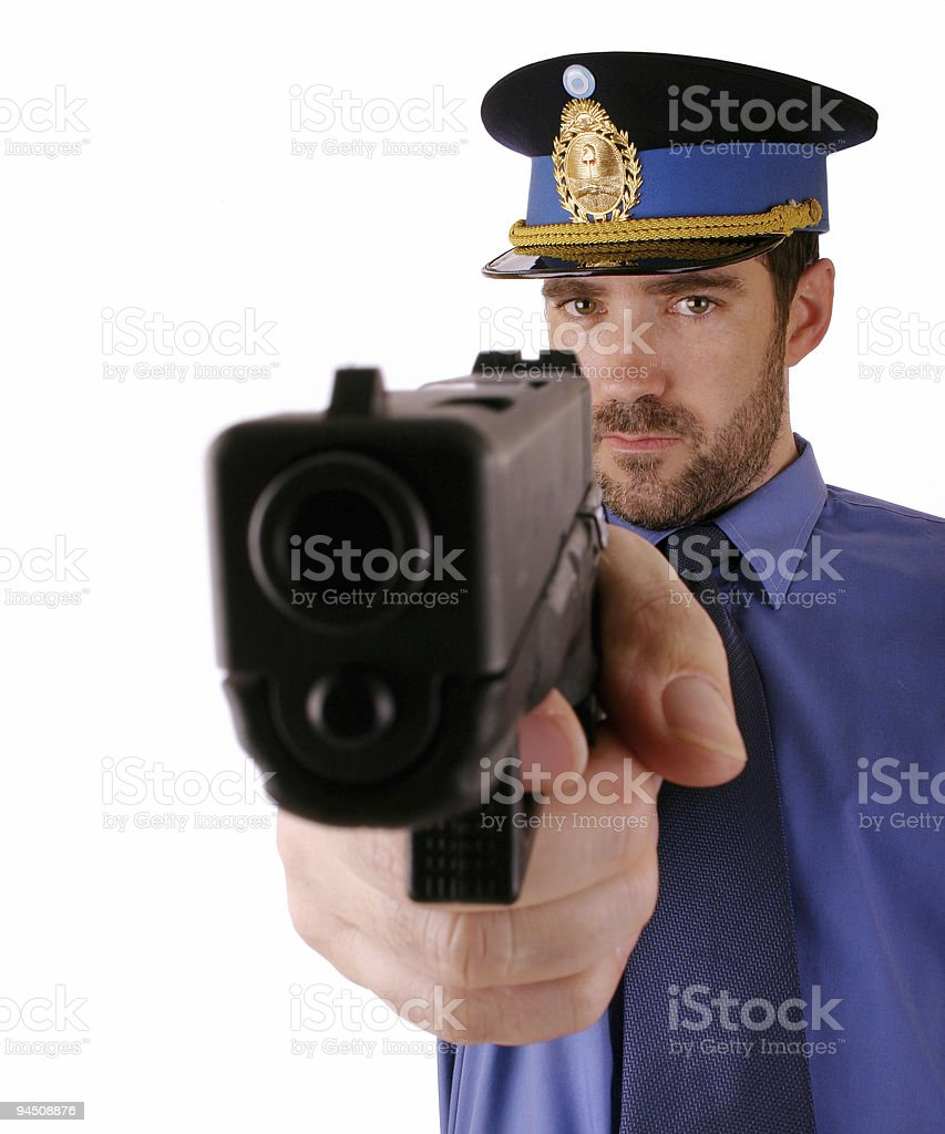 Cop is shooting at you 6 royalty-free stock photo
