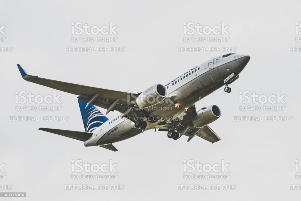Copa Airlines airplane preparing for landing stock photo