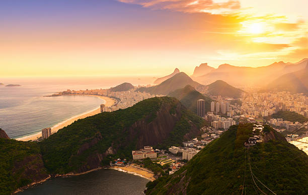 copacabana and botafogo in rio de janeiro. brazil - south america travel stock photos and pictures