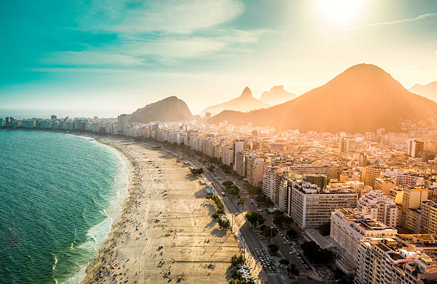 copacabana area of rio de janeiro as seen from above - south america travel stock photos and pictures