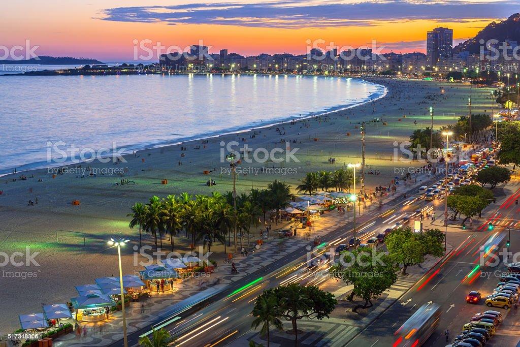 Copacabana beach and Avenida Atlantica in Rio de Janeiro, Brazil stock photo