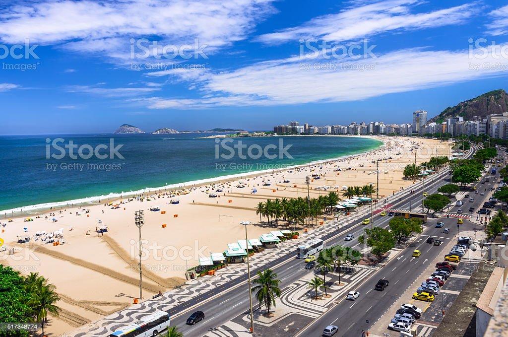 Copacabana beach and Avenida Atlantica in Rio de Janeiro stock photo