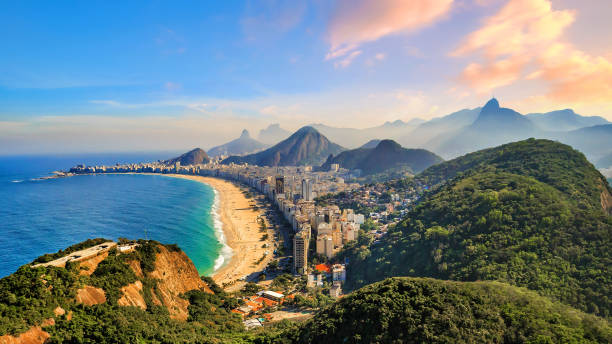 Copacabana Beach and Ipanema beach in Rio de Janeiro, Brazil stock photo