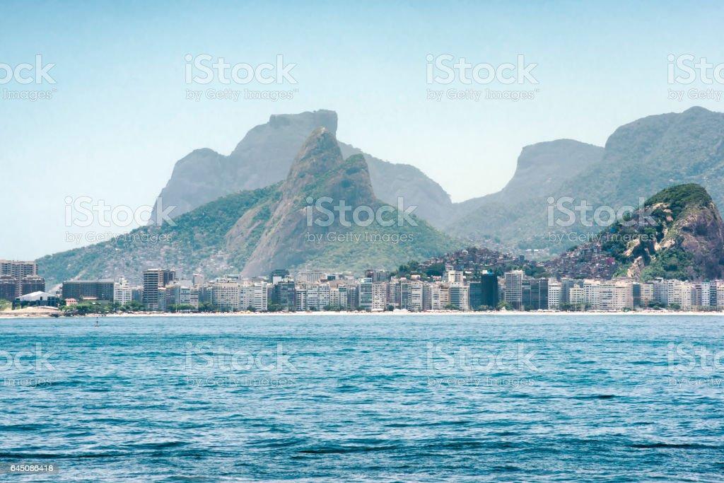 Copacabana beach and the mountainous landscape in Rio de Janeiro stock photo