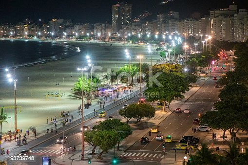 Copacabana Beach at night high angle view, Rio de Janeiro