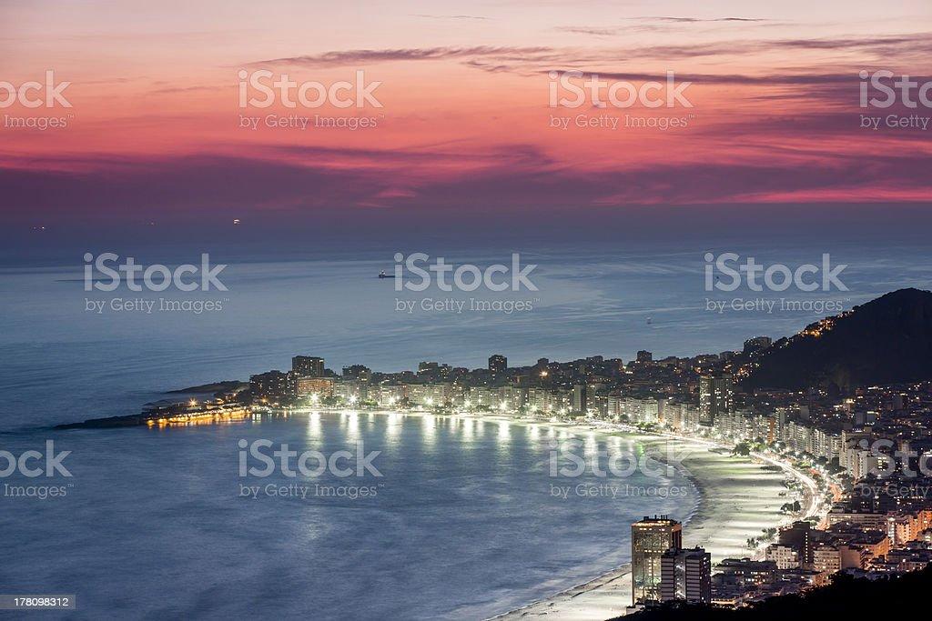 Copacabana Beach at night in Rio de Janeiro royalty-free stock photo