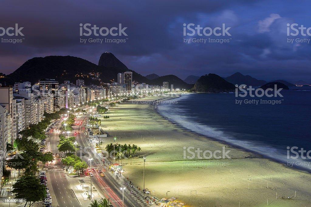 Copacabana beach at sunset royalty-free stock photo