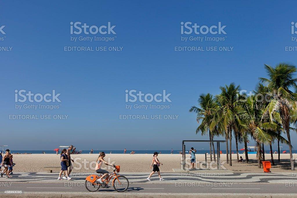 Copacabana Beach bike path royalty-free stock photo