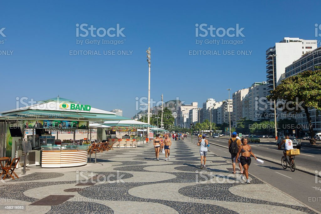 Copacabana Beach famous sidewalk royalty-free stock photo