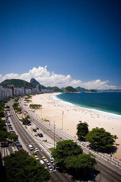 Copacabana Beach overhead view stock photo