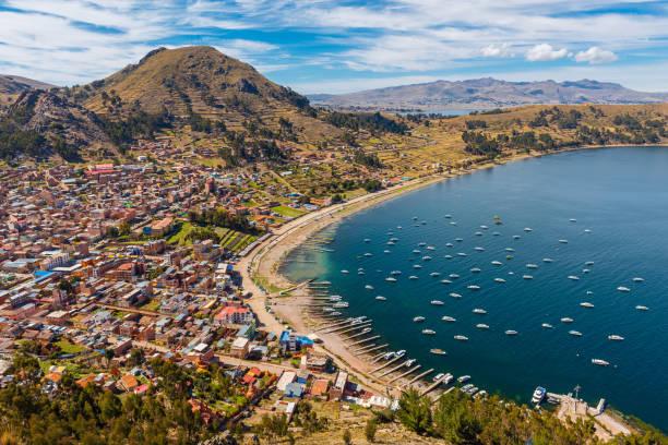 Copacabana City, Titicaca Lake, Bolivia stock photo