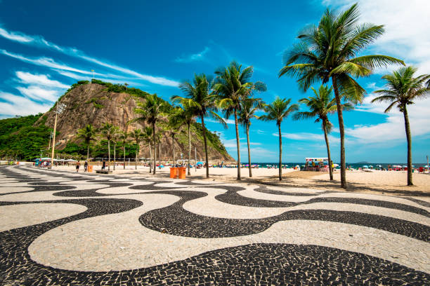 Copacabana Sidewalk Mosaic and Palm Trees in Rio de Janeiro stock photo