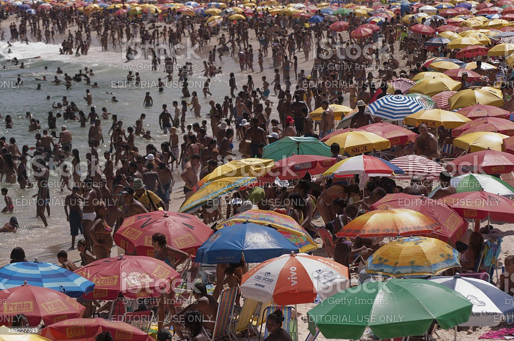 Copacabana summer crowds royalty-free stock photo
