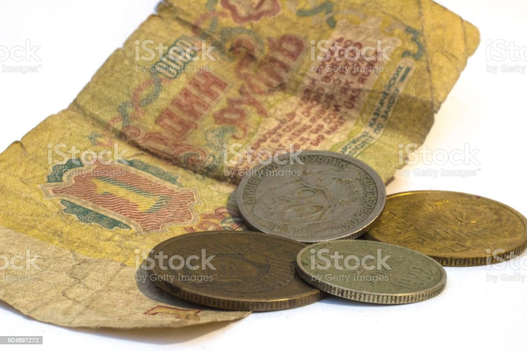 copecks of the USSR on a background of a blurred ruble stock photo