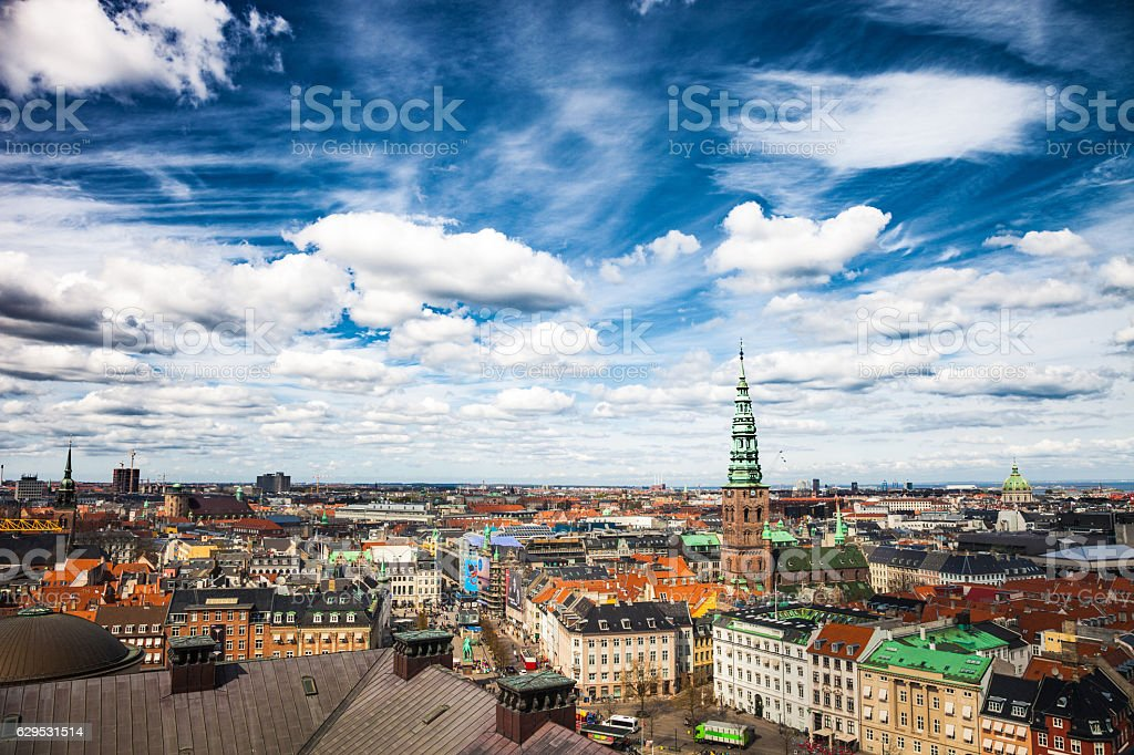 Copenhagen aerial view cityscape stock photo