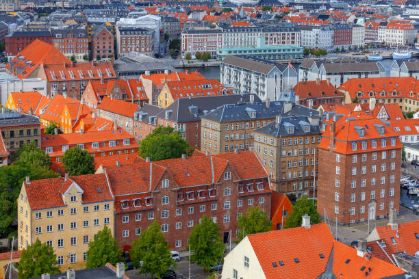 Copenhagen. Aerial view of the city. stock photo