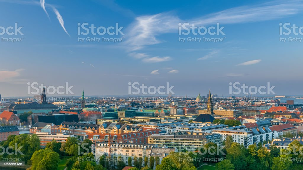 Copenhagen at sunset, scenic view of the city - Royalty-free Aerial View Stock Photo
