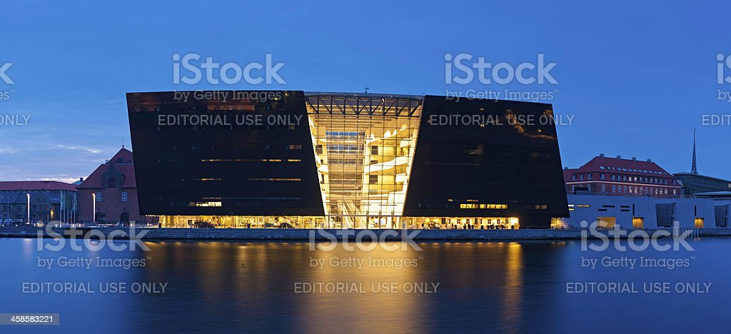 Copenhagen Black Diamond Royal Danish Library illuminated Denmark stock photo