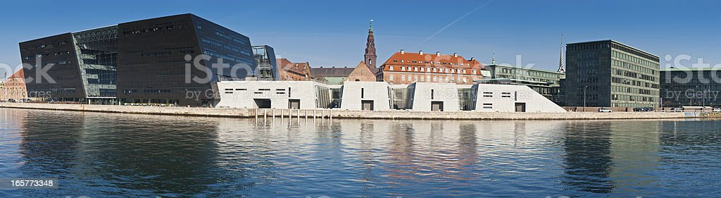 Copenhagen Black Diamond Royal Danish Library waterfront panorama Denmark stock photo