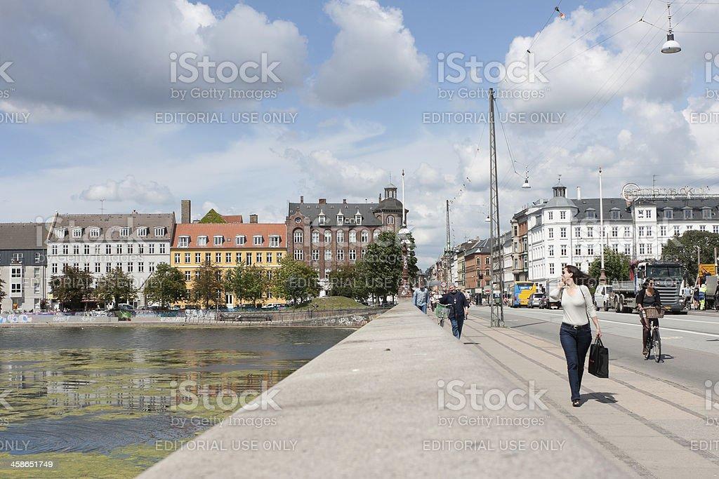 Copenhagen Bridge Pedestrians stock photo