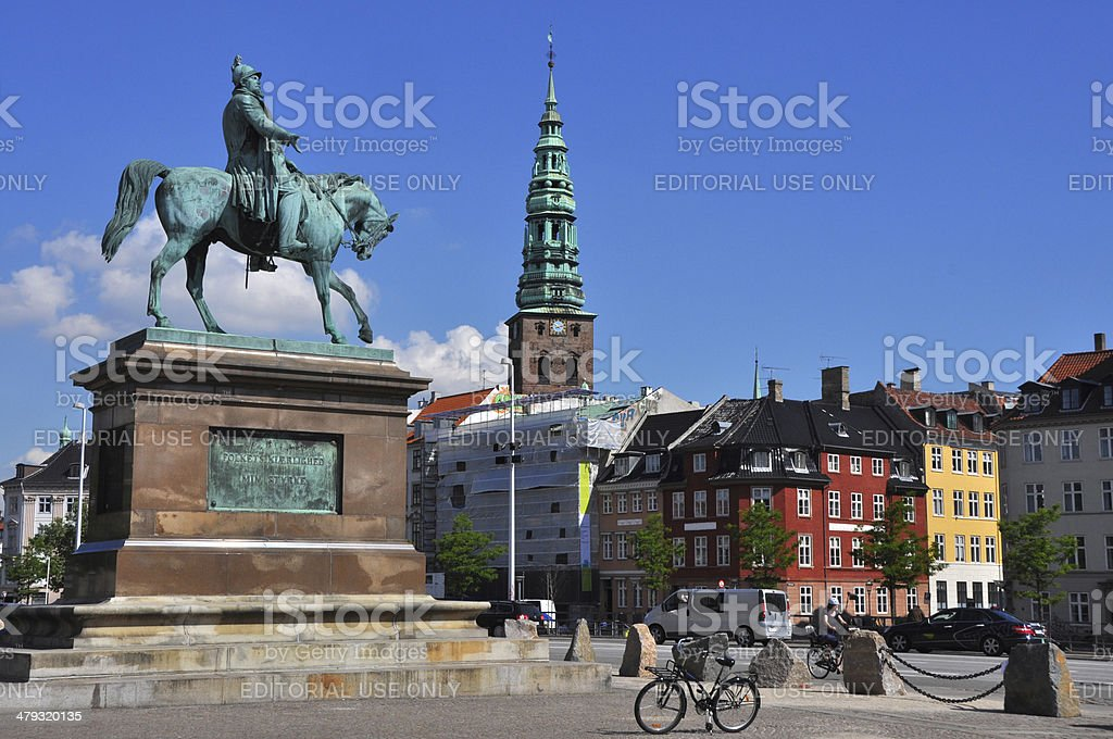 Copenhagen - Cavalier's memorial and St. Nikolai Church stock photo