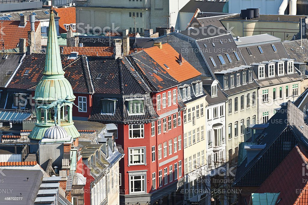 Copenhagen central district rooftops shopping streets Denmark royalty-free stock photo