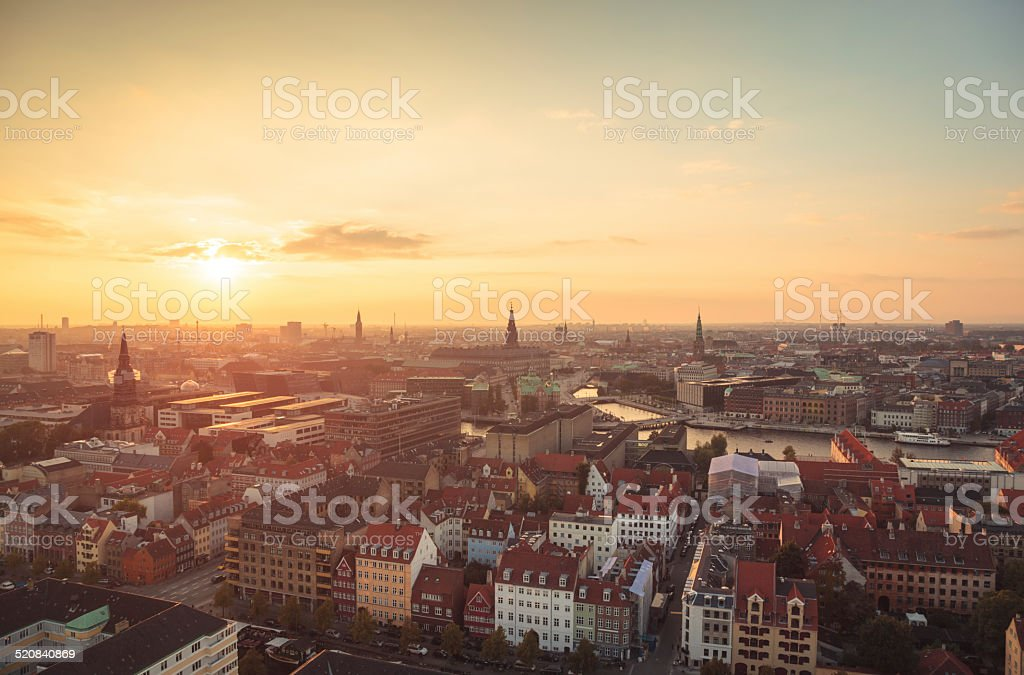 Copenhagen city center at sunset light (Copenhagen, Denmark). stock photo