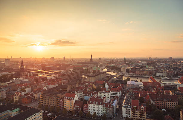 copenhagen city center at sunset light (copenhagen, denmark). - denmark stock photos and pictures