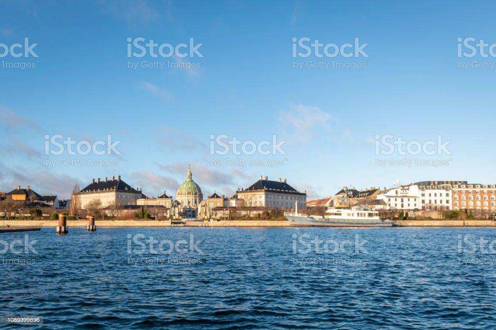 Copenhagen city skyline from the main river in Denmark stock photo