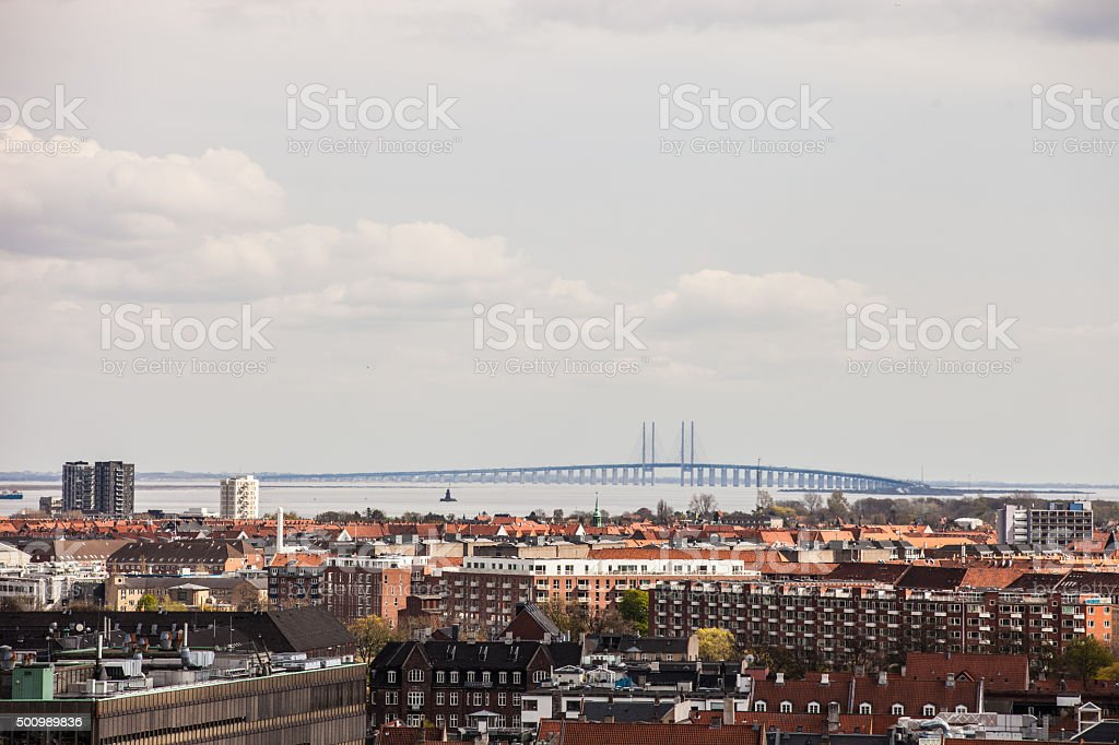 Copenhagen cityscape and Oresund Bridge stock photo