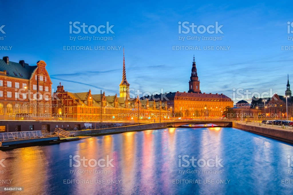 Copenhagen Cityscape with Christiansborg Palace at night in Cope stock photo