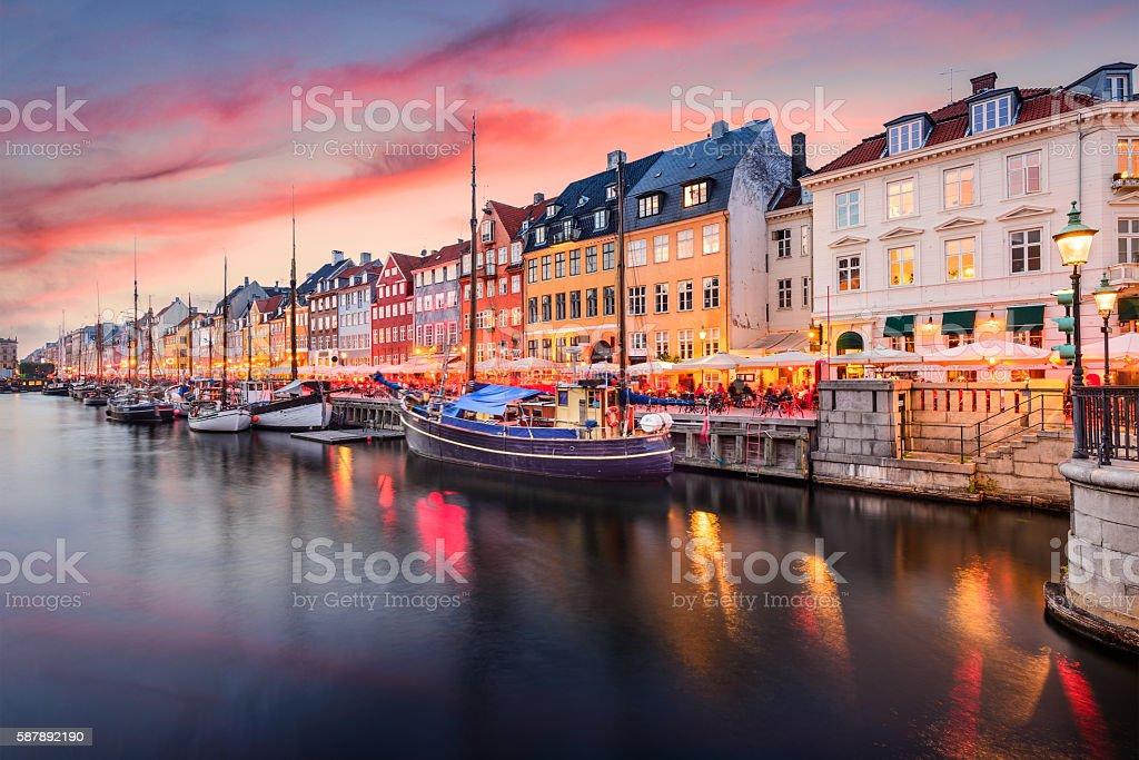 Copenhagen, Denmark at Nyhavn Canal Copenhagen, Denmark on the Nyhavn Canal. Architecture Stock Photo