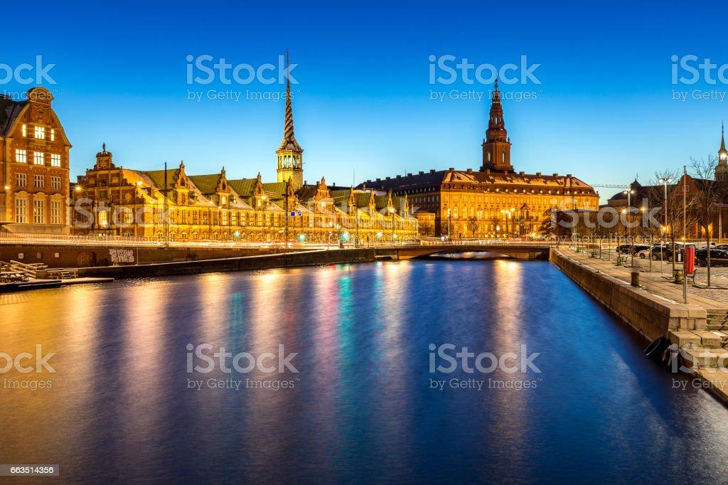 Copenhagen Denmark night stock photo