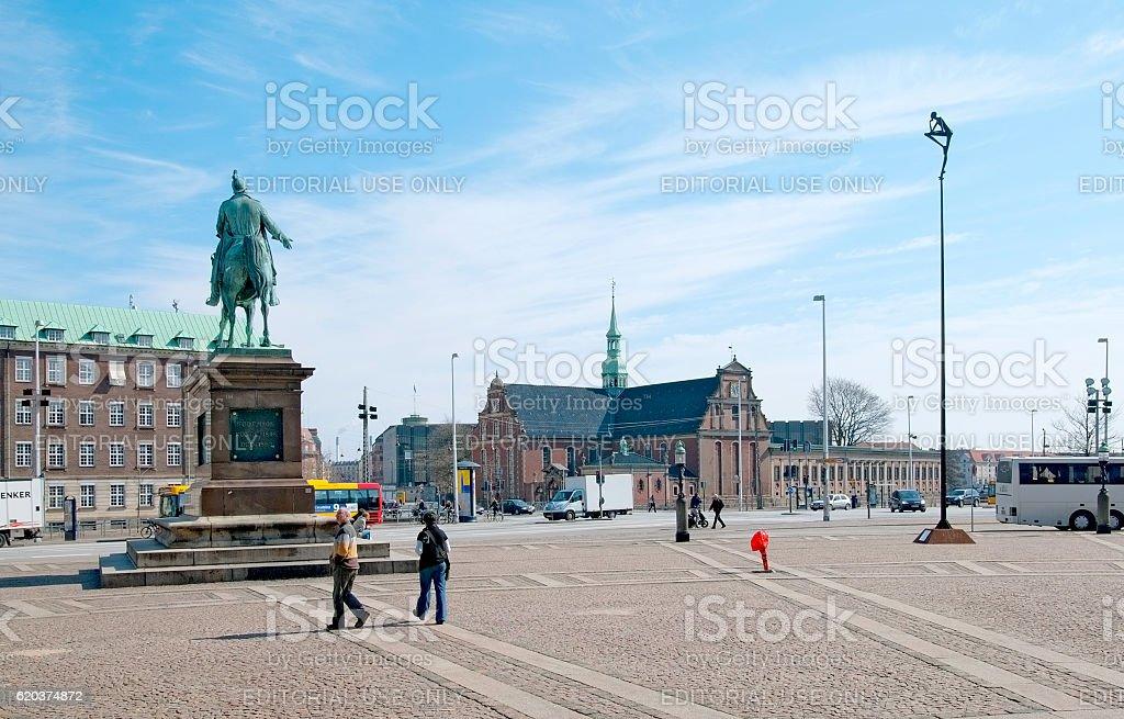 Copenhagen. Denmark. People near King Frederik VII Statue zbiór zdjęć royalty-free