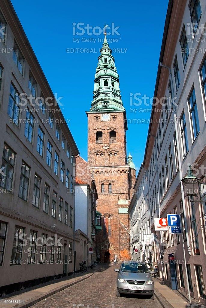 Copenhagen. Denmark. People near The Nikolaj Contemporary Art Center zbiór zdjęć royalty-free
