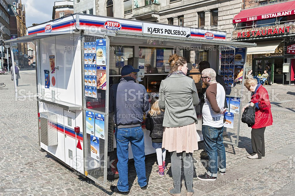 Copenhagen fast food hot dog stand Strøget royalty-free stock photo
