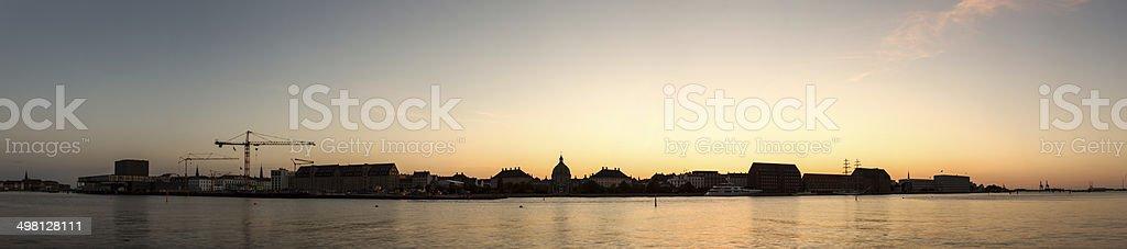Copenhagen harbor at sunset stock photo