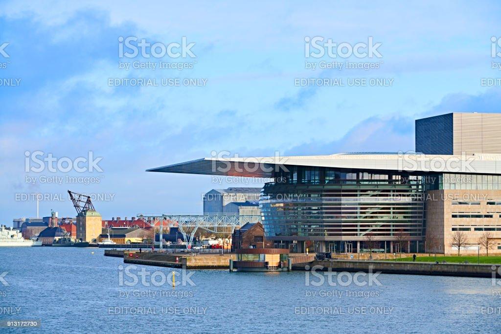 Copenhagen Harbor - part of inner Copenhagen with the Opera House stock photo