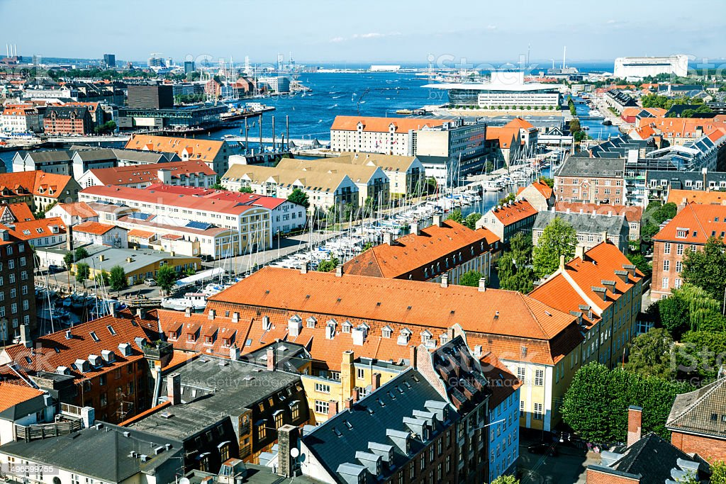 Copenhagen harbor viewed from Church of our Savior stock photo