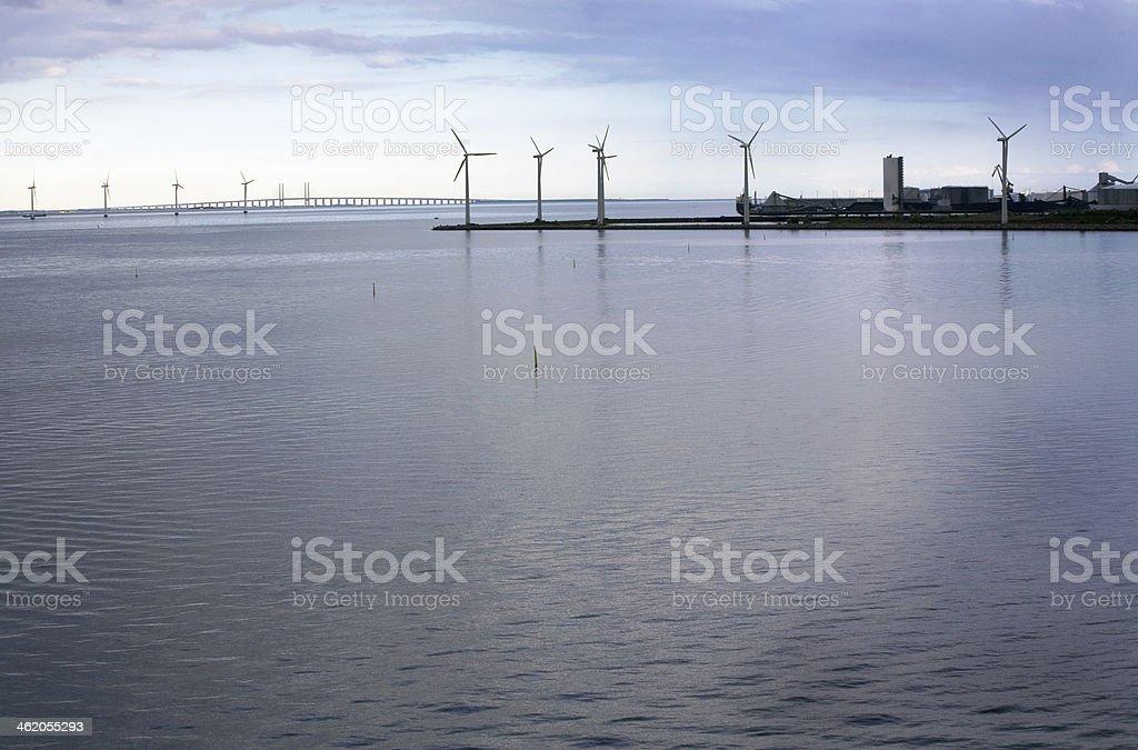Copenhagen harbour, power plant, bridge and hangars stock photo