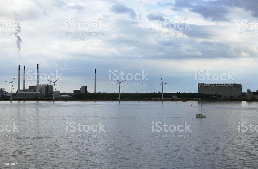 Copenhagen harbour, power plant, smokestacks and hangars stock photo