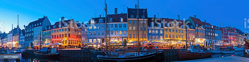 Copenhagen Nyhavn neon night illuminated waterfront Denmark royalty-free stock photo