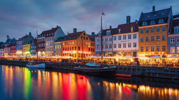 Copenhagen Nyhavn Nightlife Twilight Denmark stock photo