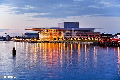 The Copenhagen Opera House (Operaen) national opera house of Denmark at night