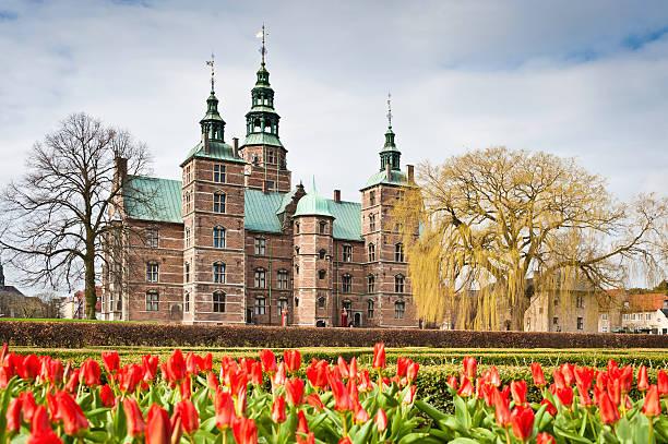 Copenhagen Rosenborg Slot castle Kongens Have spring tulips Denmark stock photo