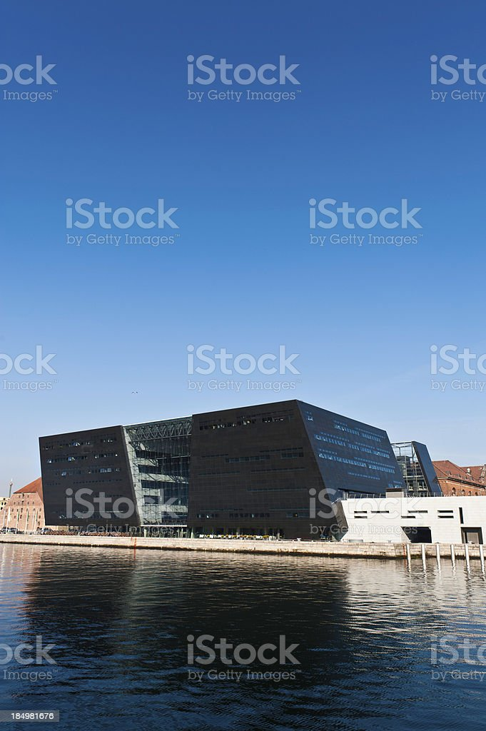 Copenhagen Royal Danish Library Black Diamond harbour landmark Denmark stock photo