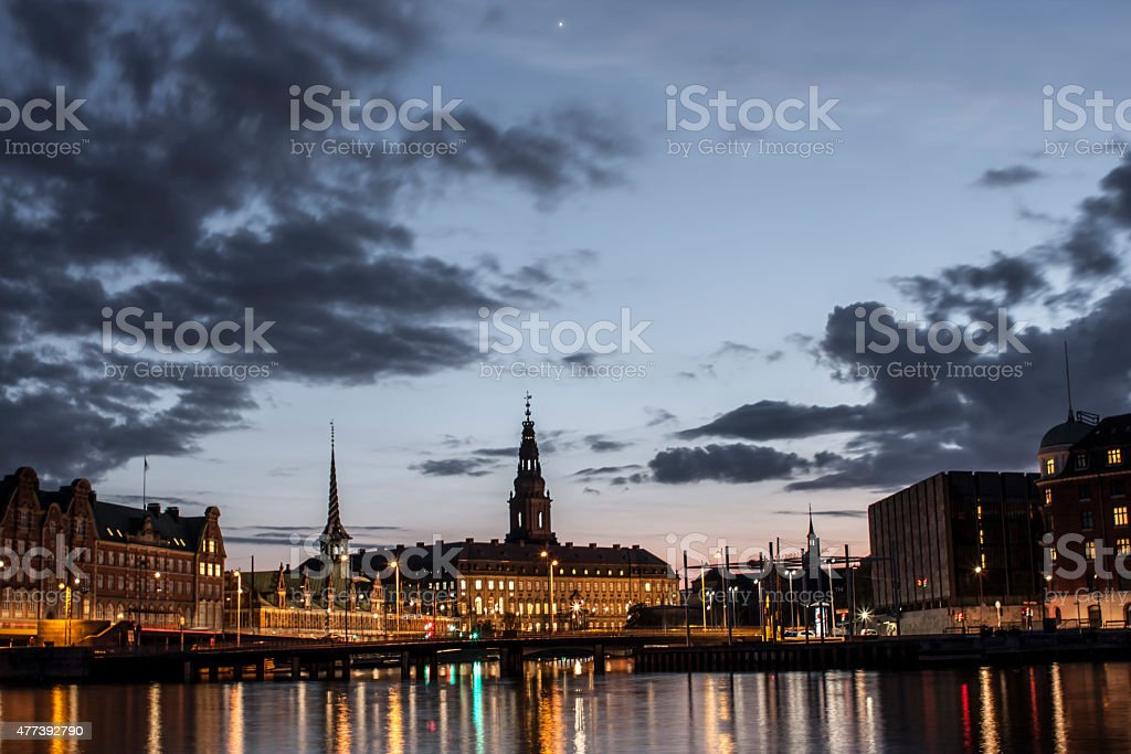 Copenhagen skyline at dusk stock photo