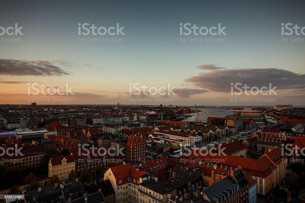 Copenhagen skyline at sunset stock photo